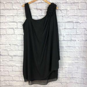 R & M Collection Black Asymmetrical Slimming Dress